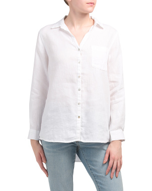Linen Collared Button Front Top