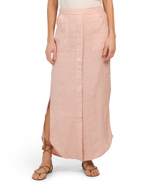 Linen Pigment Dye Herringbone Pull On Maxi Skirt
