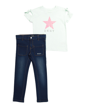 Little Girls 2pc Denim Capri Pant Set