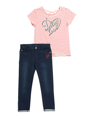 Little Girls 2pc Love Denim Set