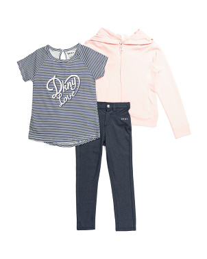 Little Girls 3pc Hooded Jacket & Jeggings Set