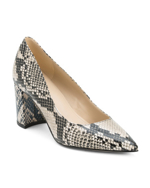 Snake Pointy Toe Block Heel Pumps
