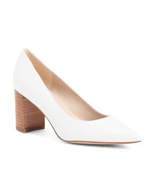 Pointy Toe Block Heel Leather Pumps