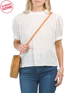 Letters To Juliet Puff Sleeve Eyelet Top
