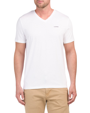 Short Sleeve Solid V-neck Tee