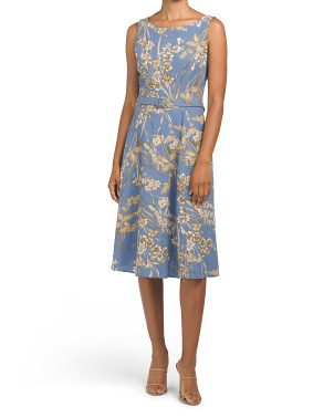 Printed Linen Blend Belted Fit & Flare Dress