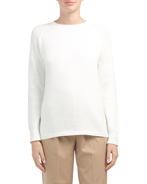 Ribbed Raglan Sleeve Sweater