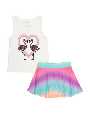 Girls Flamingo Heart Skort Set