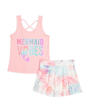 Girls Mermaid Vibes Skort Set