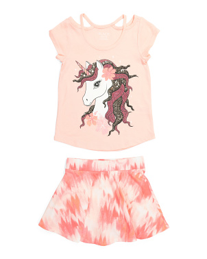 Girls Unicorn Tie Dye Skort Set