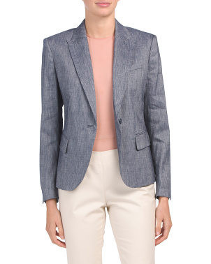 Peak Lapel Collar Linen Blend Jacket