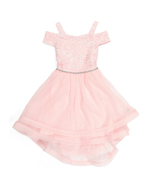 Little Girls Cold Shoulder Lace Party Dress