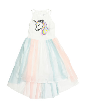 Little Girls Unicorn Mesh Hi-lo Dress