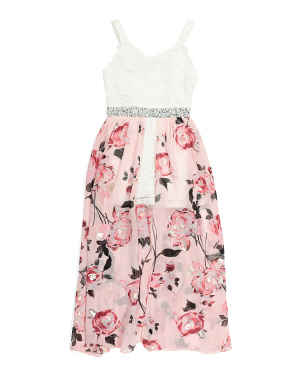 Big Girls Floral Lace Maxi Walk Through Romper