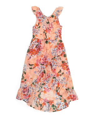 Big Girls Floral Ruffle Dress
