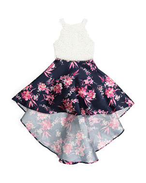 Big Girls Foil Floral Hi Low Dress