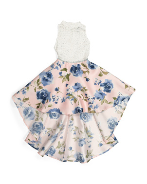 Big Girls Lace Floral Hi Low Dress