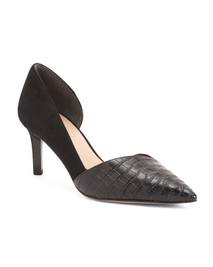 Croc Embossed Suede Pumps
