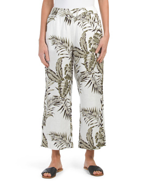 Printed Linen Cropped Pull On Pants