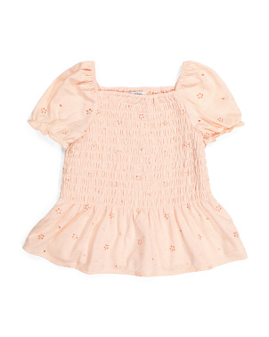Big Girls Smocked Eyelet Top