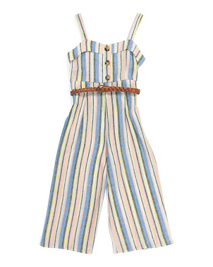 Big Girls Cropped Striped Jumpsuit