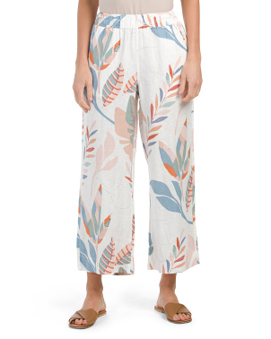 Printed Cropped Pull On Linen Pants