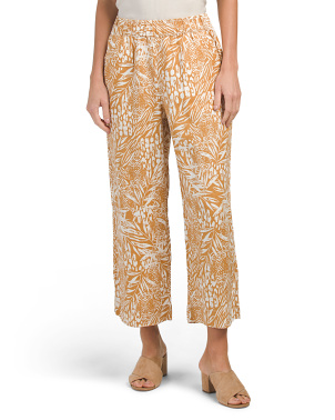 Made In Italy Linen Printed Cropped Pants