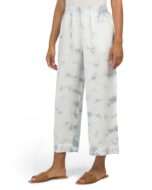 Tie Dye Cropped Pull On Linen Pants