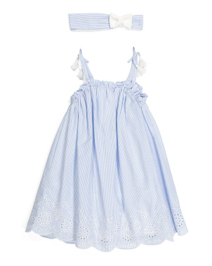 Toddler Girls Eyelet Stripe Dress