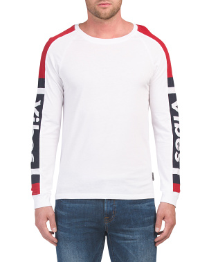 Long Sleeve Color Block Verbiage Tee