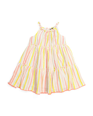 Toddler Girls Crinkle Stripe Dress