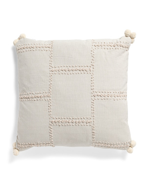 20x20 Embroidered Pom Pom Pillow
