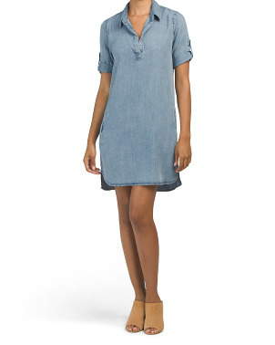 Macey Short Sleeve Popover Shirt Dress