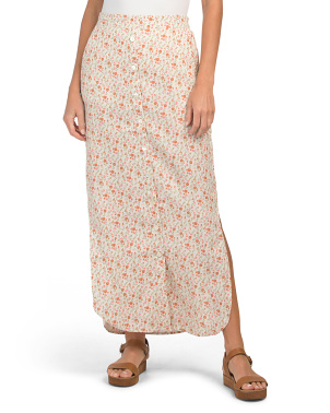 Printed Pull On Linen Maxi Skirt