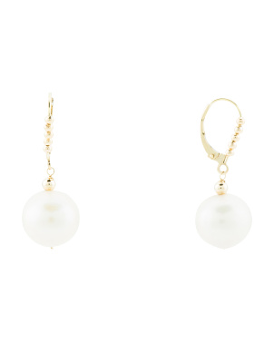 Made In Usa 14k Gold Beaded Pearl Earrings