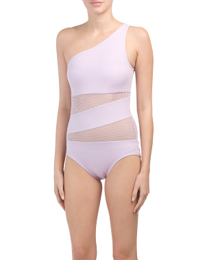 Spliced One Shoulder One-piece Swimsuit