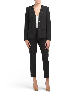 Petite Collarless Pantsuit Set