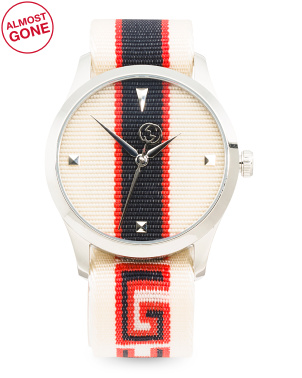 Swiss Made G Timeless Striped Logo Nylon Strap Watch