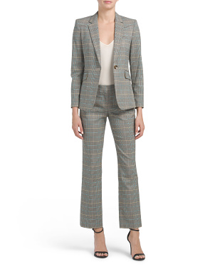 Petite Plaid One Button Jacket & Trouser Set