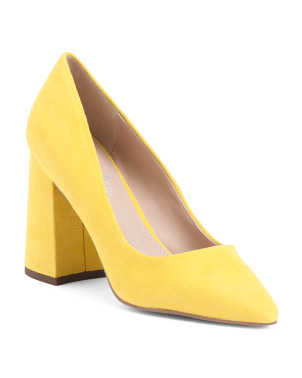 Block Heel Pointy Toe Pumps