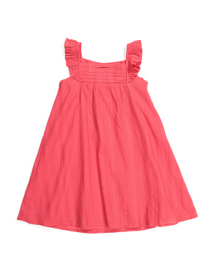 Toddler Girls Flutter Sleeve Pleat Dress