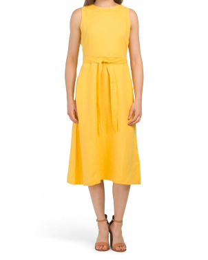Linen Sleeveless Tie Waist Midi Dress
