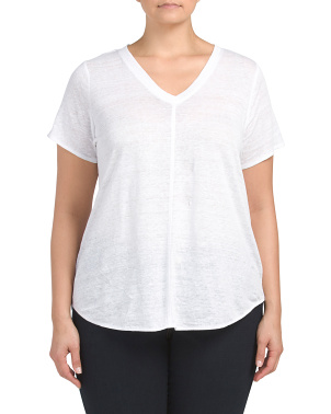 Plus Linen Short Sleeve Hi-lo Top