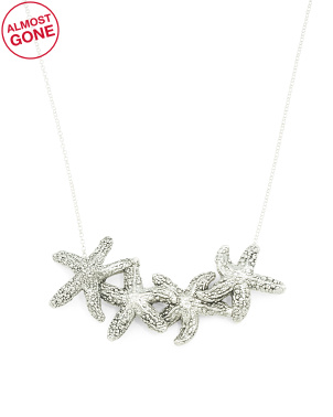 Made In Israel Sterling Silver Triple Starfish Necklace