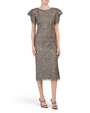 Petite All Over Flutter Sleeve Sequin Dress