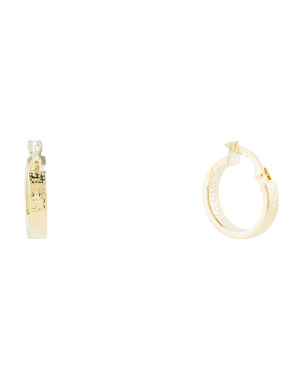 Made In Italy 14k Gold 10mm Greek Key Hoop Earrings