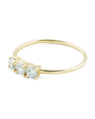 Made In Italy 14k Gold Triple Cz Ring