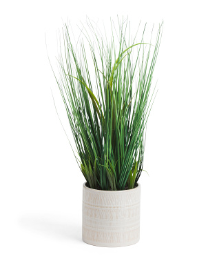 Faux Grass In Glazed Pattern Pot