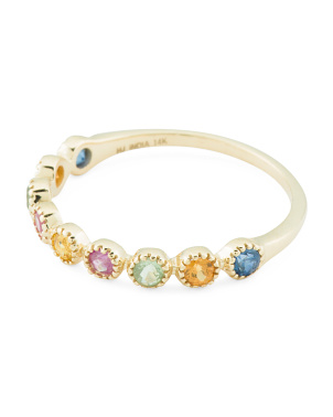 Made In India 14k Gold Gemstone Milgrain Stacking Ring