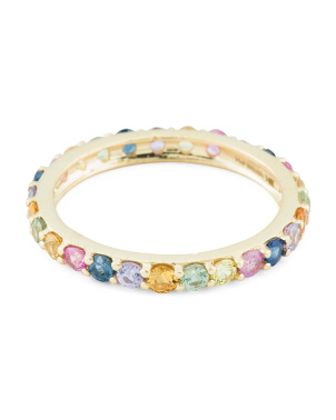 Made In India 14k Gold Multi Sapphire Eternity Stacking Ring